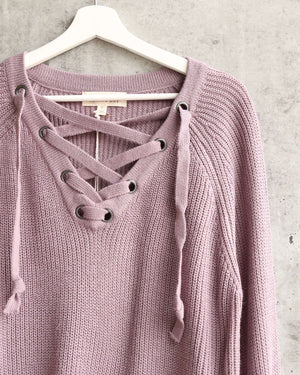 lace up grommet knit sweater - dusty purple