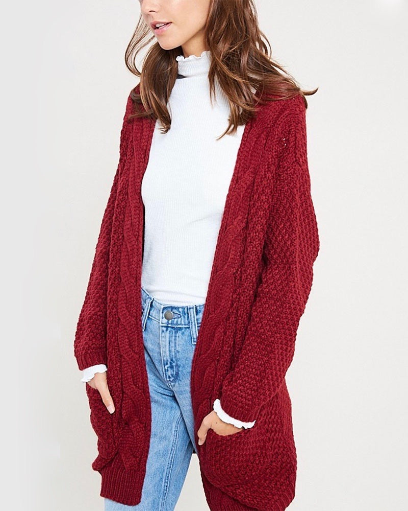 Long sleeve low gauge open knit wishlist cardigan sweater with pockets TWIG