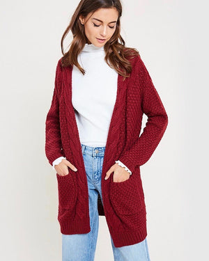 Long sleeve low gauge open knit wishlist cardigan sweater with pockets BURGUNDY