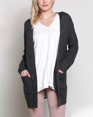 Long sleeve low gauge open knit wishlist cardigan sweater with pockets CHARCOAL