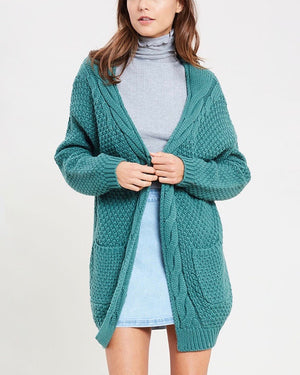Long sleeve low gauge open knit wishlist cardigan sweater with pockets MIDNIGHT GREEN