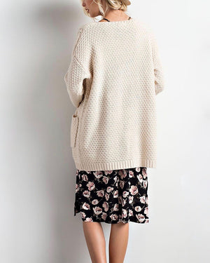 Long sleeve low gauge open knit wishlist cardigan sweater with pockets NATURAL