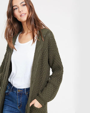 Long sleeve low gauge open knit wishlist cardigan sweater with pockets OLIVE