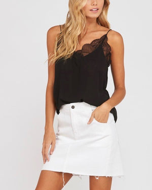 Like It Like That Lace Trimmed Lined Crepe Camisole Tank in Black