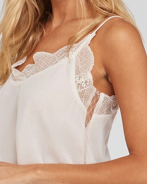 like it like that - lace trimmed lined crepe camisol tank - ivory