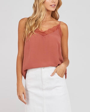 like it like that - lace trimmed lined crepe camisol tank - ginger