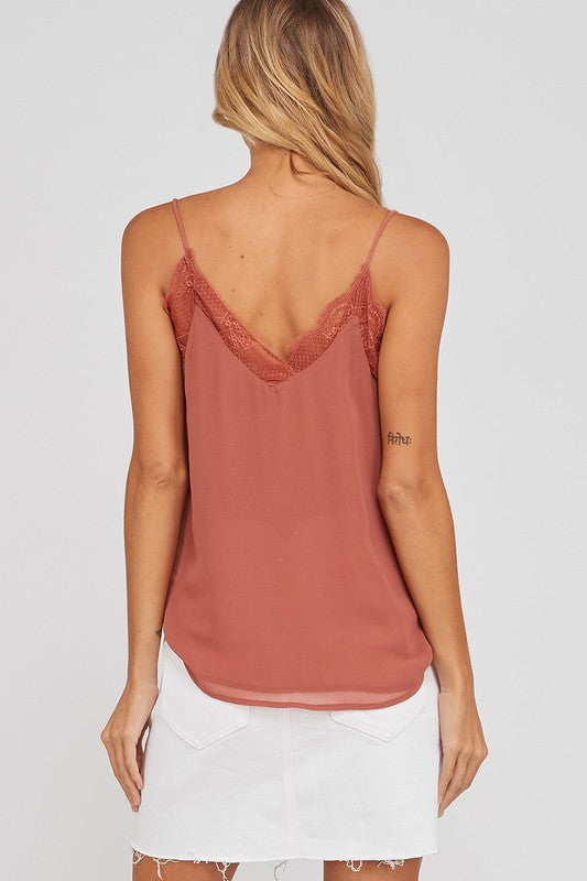 Like It Like That Lace Trimmed Lined Crepe Camisole Tank in Ginger