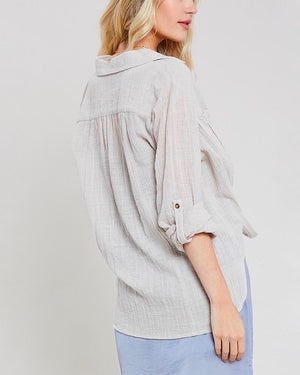 linen front button down self-tie shirt - shell