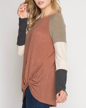 Long Color Blocked Sleeve Top with Front Twist in Cinnamon