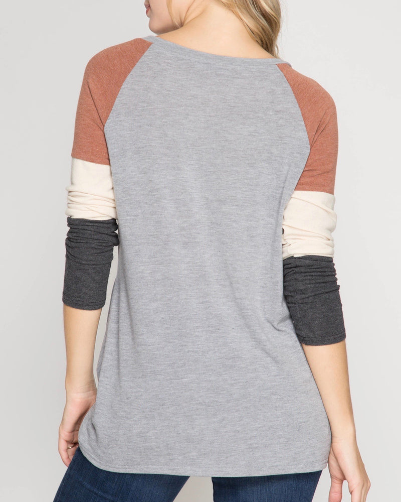 Long Color Blocked Sleeve Top with Front Twist in Grey