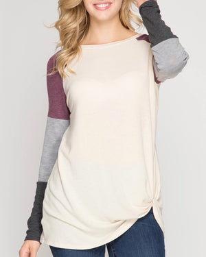 long color blocked sleeve top with front twist - vanilla
