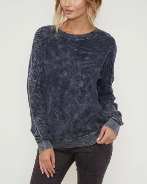 Long Sleeve Corduroy Knit Crew Neck Sweatshirt in More Colors