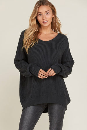 Final Sale - Long Sleeve Lace Up Back Slouchy Sweater in Charcoal