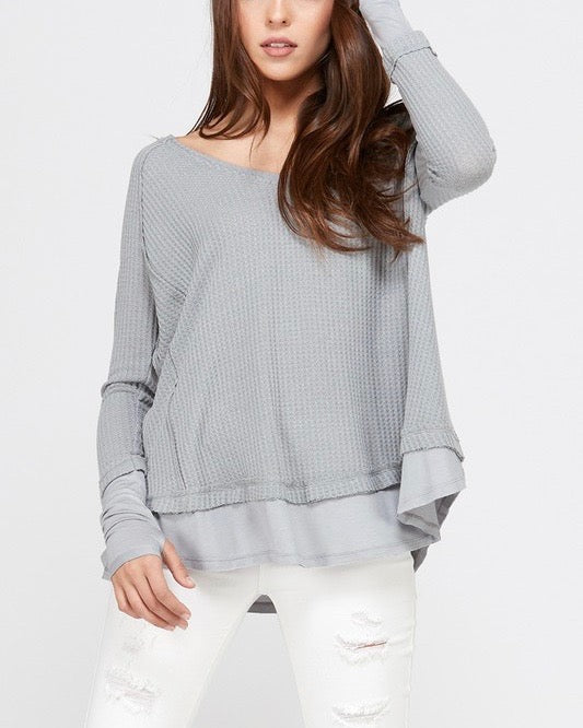 thumb hole long sleeve layered v neck waffle knit thermal sweater top - grey