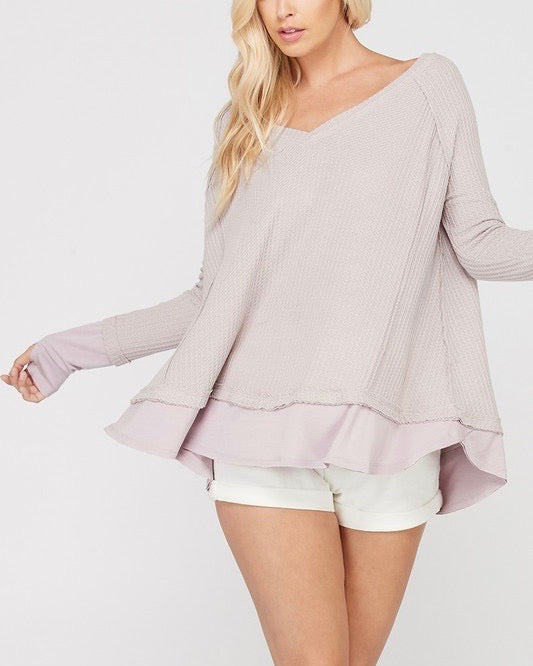 thumb hole long sleeve layered v neck waffle knit thermal sweater top - lavender