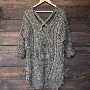 oversize cross back knit sweater - marle olive - shophearts - 1