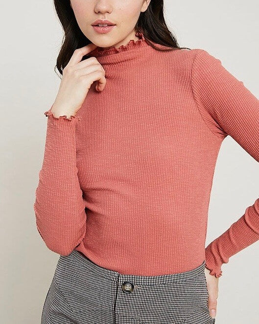 Long Sleeve Ribbed Mock Neck Knit Top in Brick
