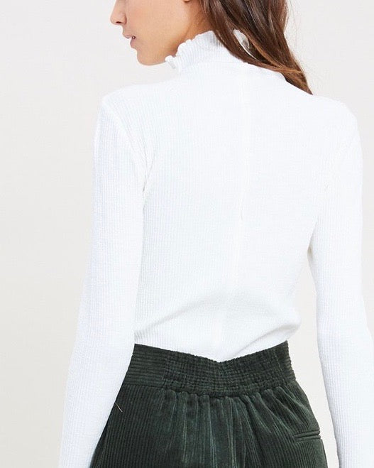 Long Sleeve Ribbed Mock Neck Knit Top in Off White