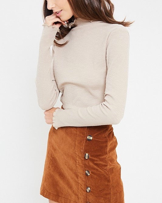 long sleeve ribbed mock neck knit top - stone