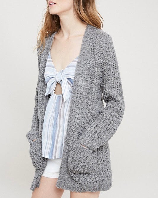 f4566480ab textured sweater knit long sleeve open front cardigan with pockets - grey