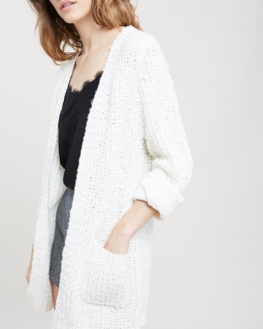 6fb3fea236 textured sweater knit long sleeve open front cardigan with pockets - natural