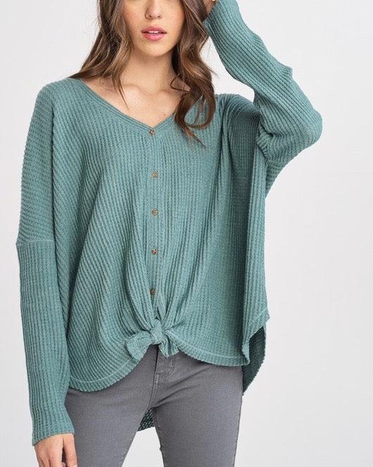 EVA Long Sleeve Thermal Waffle Knit V-Neck Button Down Lightweight Sweater in Pistachio