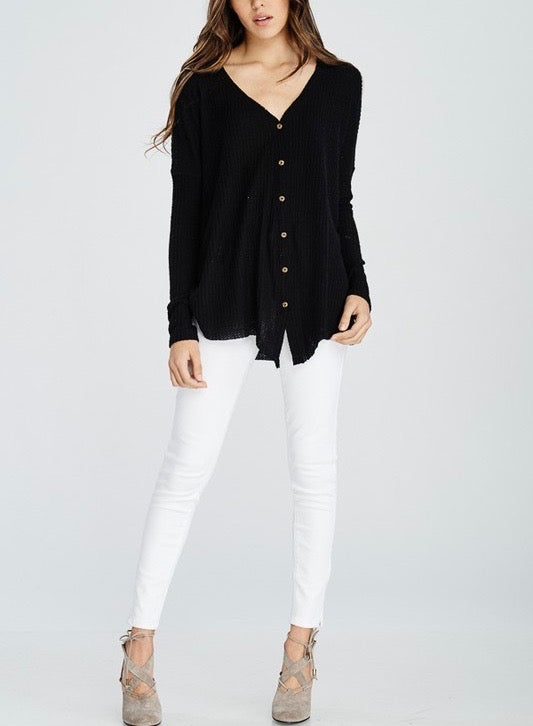 EVA Long Sleeve Thermal Waffle Knit V-Neck Button Down Lightweight Sweater in Black