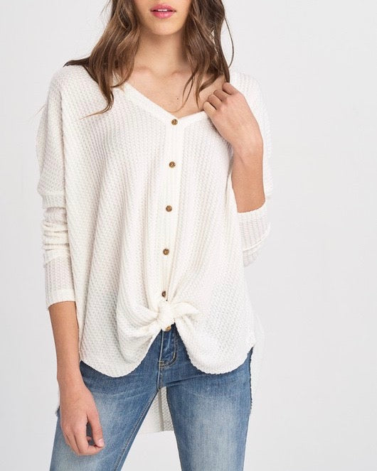 EVA - long sleeve thermal waffle knit v neck button down lightweight sweater -  ivory