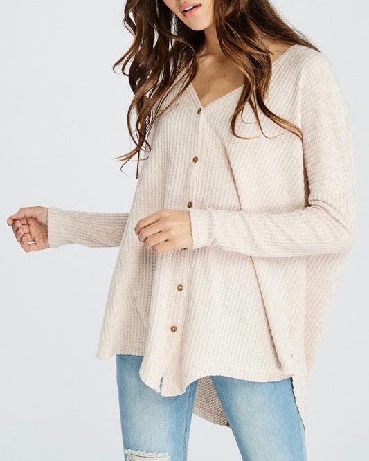 EVA Long Sleeve Thermal Waffle Knit V-Neck Button Down Lightweight Sweater in Taupe