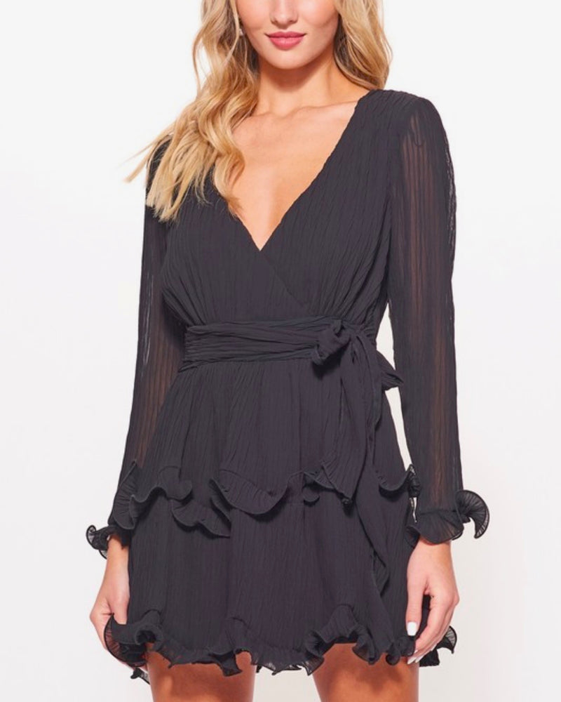 Long Sleeve Tiered Ruffle Chiffon V-neck Dress with Tie Waist in Black