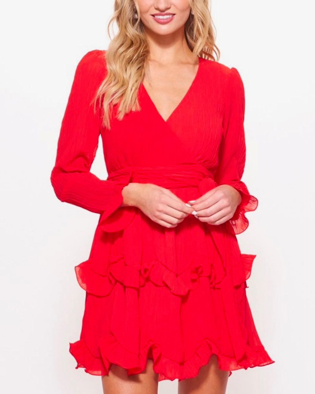 long sleeve tiered ruffle chiffon v-neck dress with tie waist in red