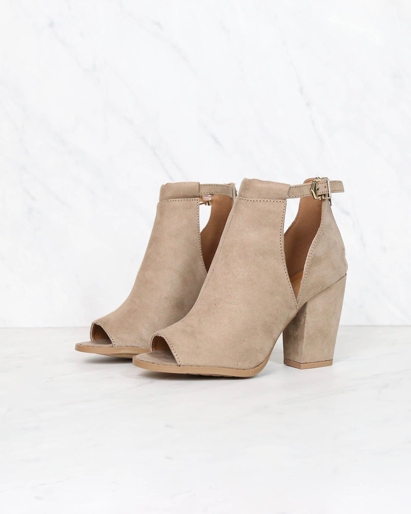 vegan suede peep toe cut out bootie - taupe