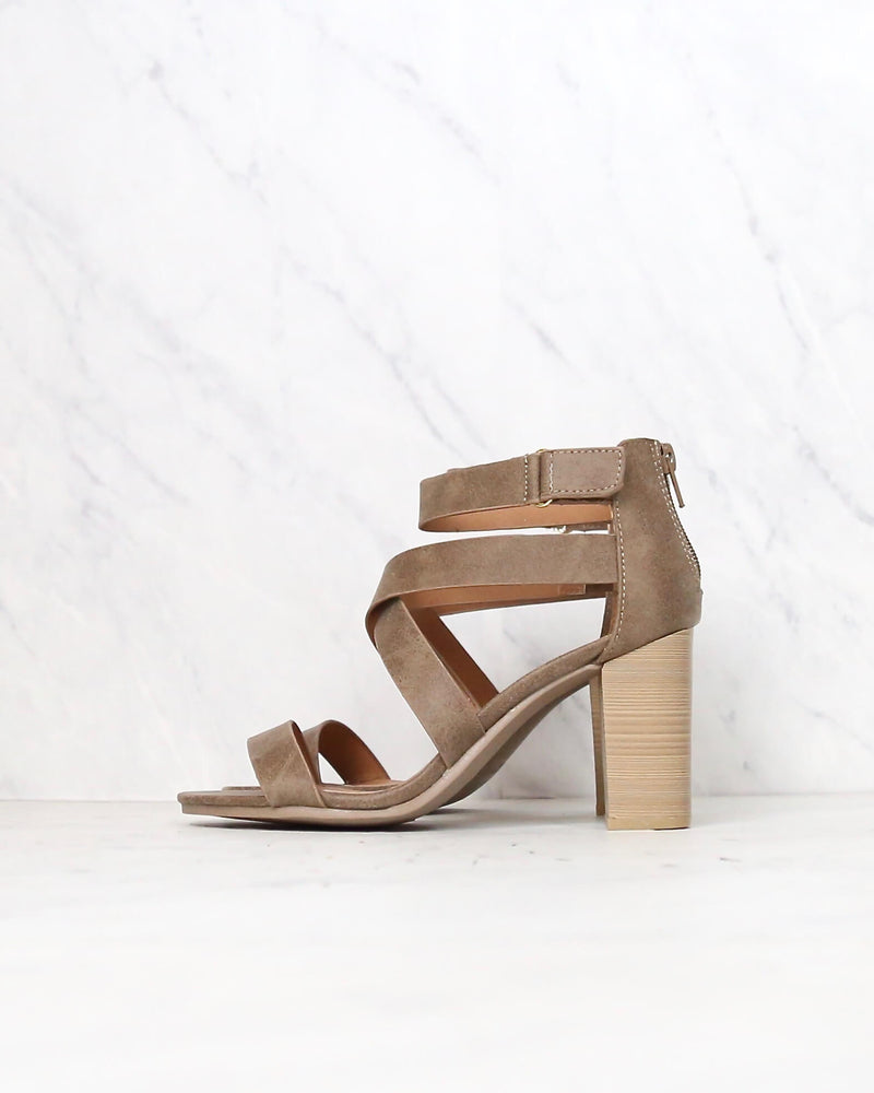 Lucite Vegan Strappy Block Heel Sandals in Taupe