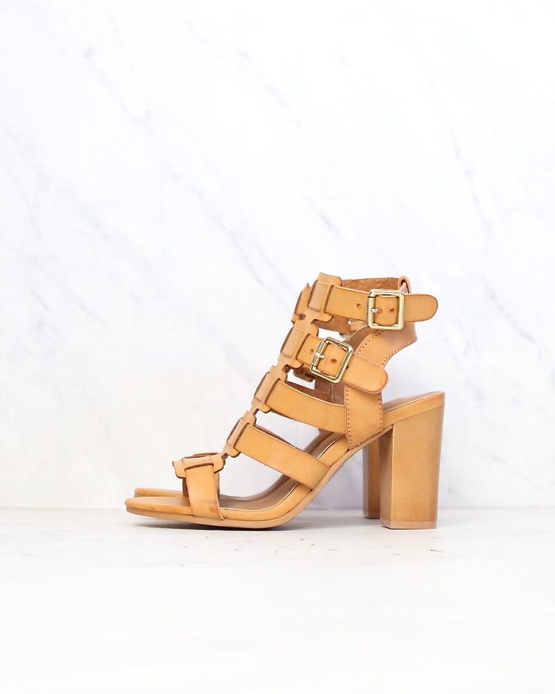 On The Go Double Buckle Sandal in Burnish Camel