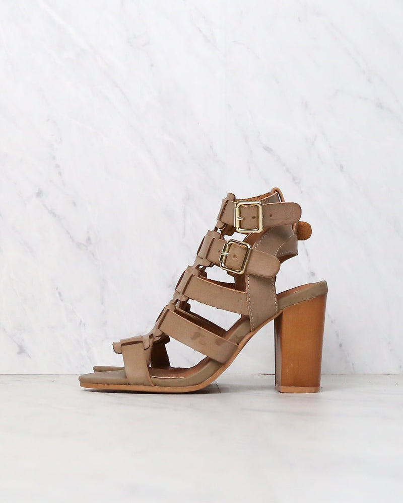 On The Go Double Buckle Sandal in Taupe