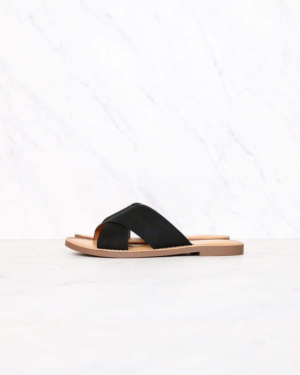 coco criss cross faux suede slip on flat sandals - black