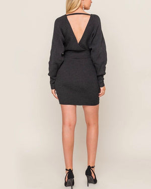 lush clothing - Deep Plunge Front Tie Open Back Knit Bodycon Dress in Charcoal