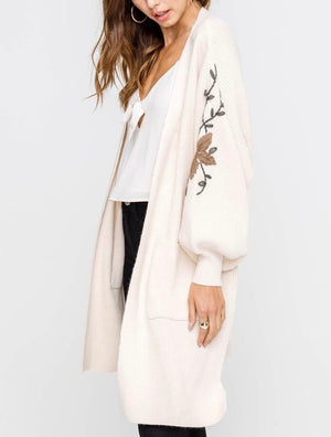 Lush Clothing - Open Front Darling Floral Embroidered Balloon Sleeve Knit Cardigan in Cream