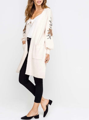 lush clothing - open front darling floral embroidered balloon sleeve knit cardigan - cream