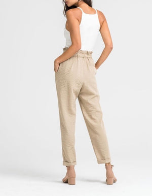 LUSH - business casual linen pants - beige