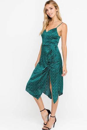 LUSH - silky dotted sleeveless drawstring accent cocktail midi dress - green