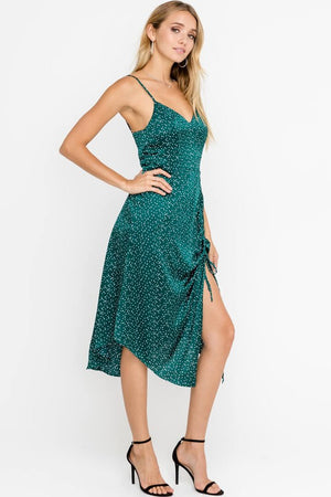 LUSH - Silky Dotted Sleeveless Drawstring Accent Cocktail Midi Dress in Green