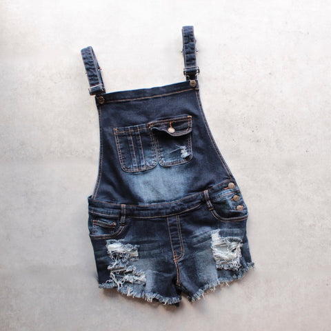 distressed denim overall short - shophearts - 1