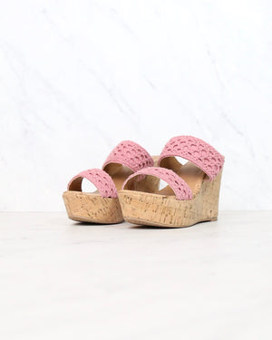 Mademoiselle Crochet Platform Wedges in Ash Rose