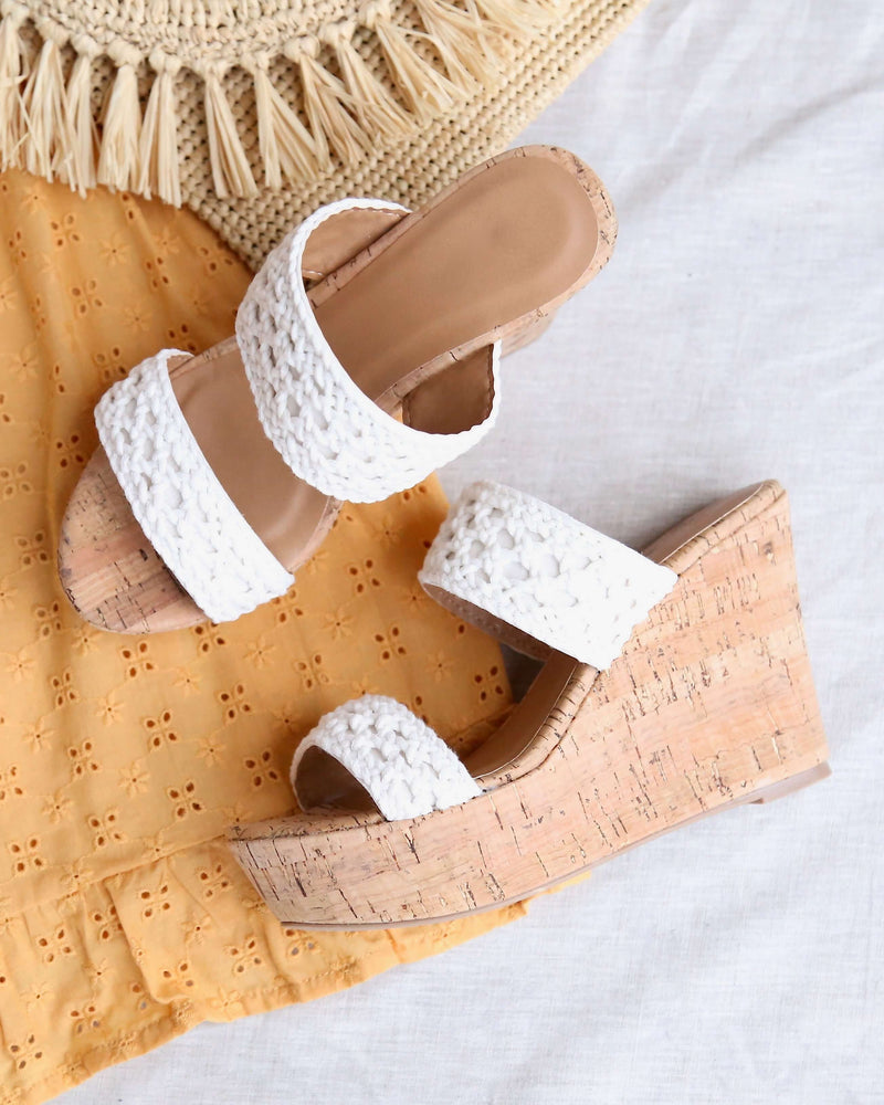 Mademoiselle Crochet Platform Wedges in White