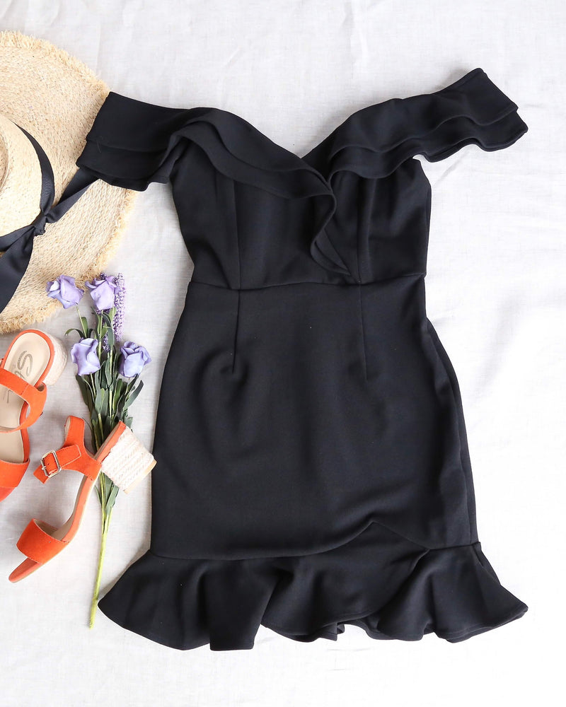 Making Wishes Off The Shoulder Ruffled Mini Bodycon Dress in Black