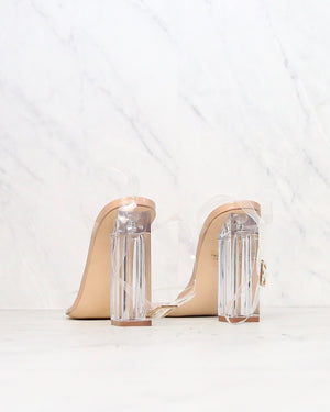 Cape Robbin - Transparent Ankle Strap Chunky Block High Heel - More Colors