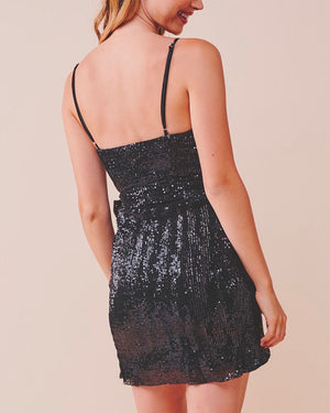 Meant To Be Mini Sequin Party Wrap Dress - More Colors