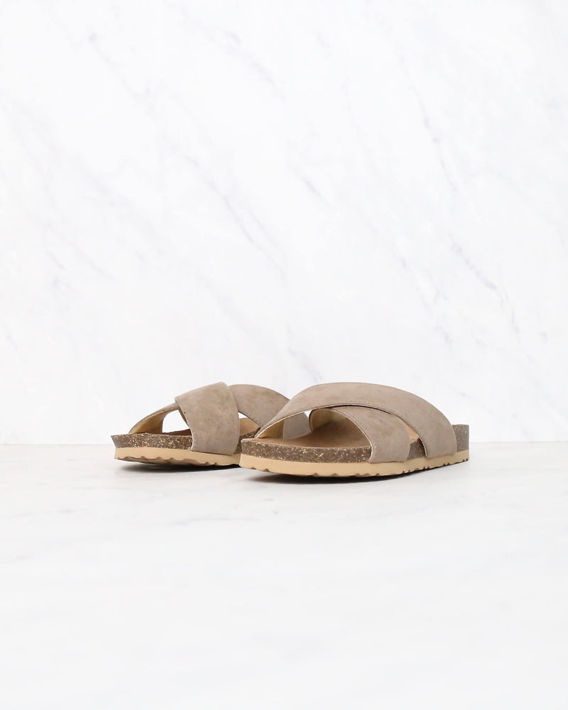 Wrapped Around You Slip On Wrap Sandals in Light Taupe
