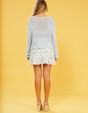 MINKPINK Josie Loose Knit Sweater in Blue